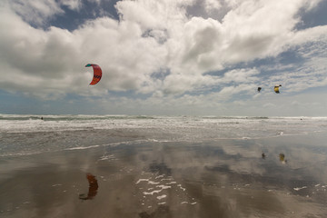 Muriwai beach in New Zealand with kite-surfers