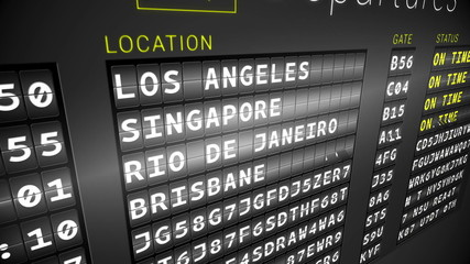 Black departures board showing on time flights