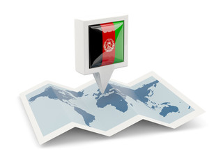 Square pin with flag of afghanistan on the map
