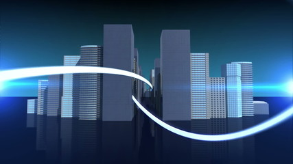 Lines swirling with cityscape background