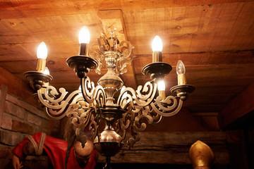 Vintage classical brass copper chandelier