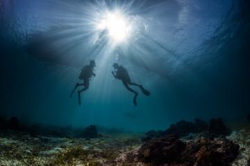 scuba divers start a dive