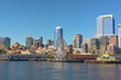A view on Seattle downtown from the water of Puget Sound.