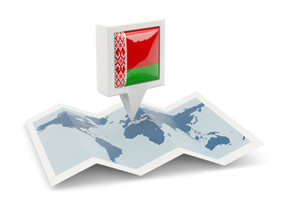 Square pin with flag of belarus on the map