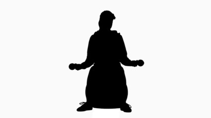 Woman working out in black silhouette
