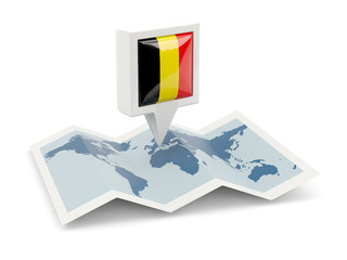 Square pin with flag of belgium on the map