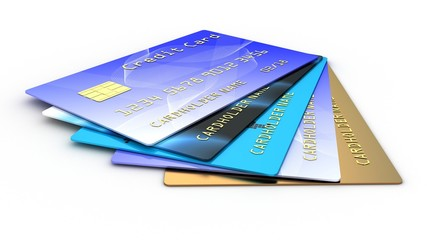 Credit plastic card on white background