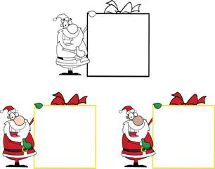 Santa Presenting Big Gift Sign. Collection Set