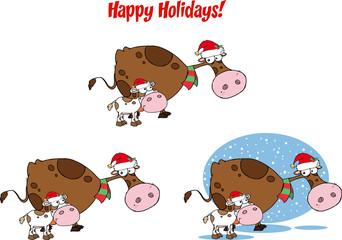 Christmas Cow and Calf Cartoon Character. Collection Set