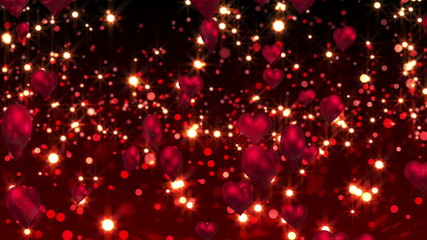 Red hearts floating against glittering background
