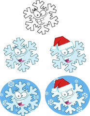 Snowflake Cartoon Character. Collection Set