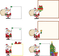 Santa Claus With Different Sign. Collection Set