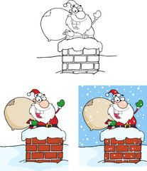 Santa Claus Waving From Chimney. Collection Set