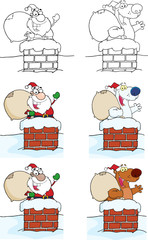 Happy Santa Claus And Bear Waving From Chimney. Collection Set