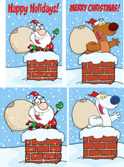 Santa Claus And Bear Waving From Chimney. Collection Set