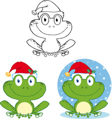 Smiling Christmas Frog Cartoon Character. Collection Set