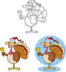 Christmas Turkey Character Ringing A Bell. Collection Set