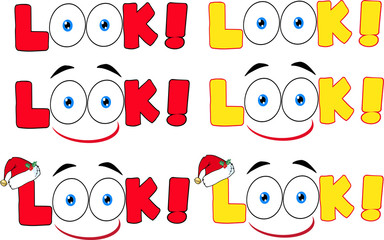 Cartoon Look Text With Santa Hat And Eyes. Collection Set