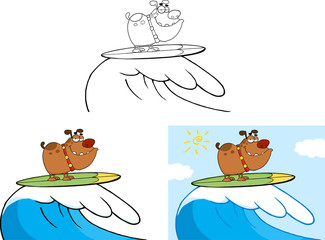 Smiling Dog Cartoon Character Surfing On Waves. Collection Set