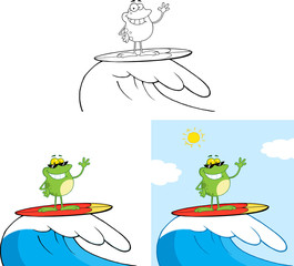 Smiling Frog Cartoon Character Surfing On Waves. Collection Set