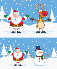 Santa Claus, Reindeer And Snowman With Open Arms. Collection Set
