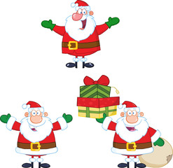 Santa Claus Cartoon Character Different Poses. Collection Set