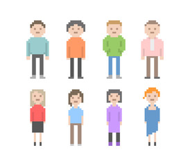 Collection of different pixel art style people