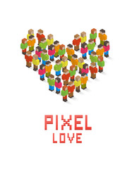 Heart made up of isometric pixel art style people