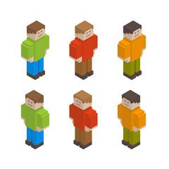 Set of isometric pixel art style guys