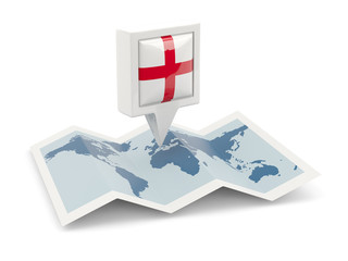 Square pin with flag of england on the map