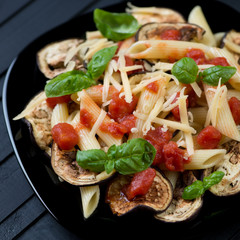 Pasta alla Norma. A typical italian dish with roasted eggplant