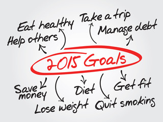 2015 Goals vector concept, chart, diagram, presentation