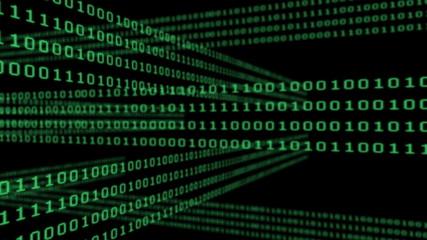 Binary code grid on black background