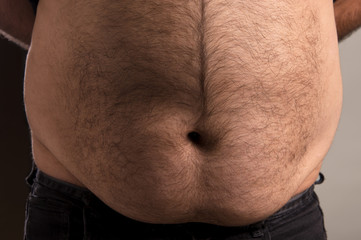 Overweight mans stomach