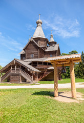 Old wooden orthodox church in the museum of wooden architecture