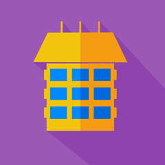 Modern flat design concept icon. Modern style yellow house. Vect