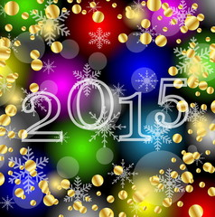 numbers 2015 year on a bright background with gold spangles
