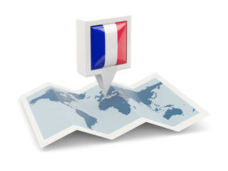 Square pin with flag of france on the map