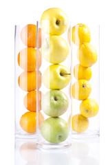 Group of fruit in glass: Appless, Oranges, Lemons