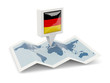 canvas print picture - Square pin with flag of germany on the map