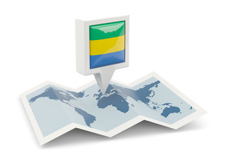 Square pin with flag of gabon on the map