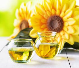 Sunflower oil on a garden table