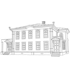 House sketch two-storey wooden house Ulyanov Lenin. Vector illus