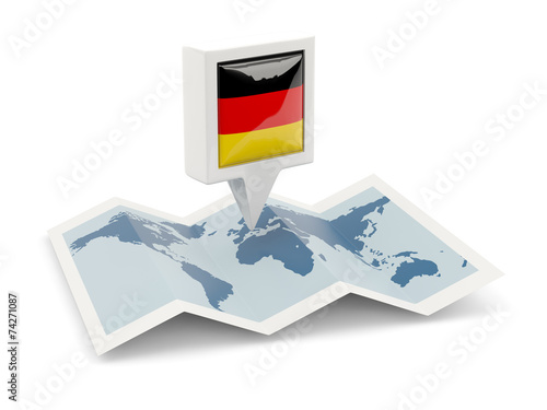 canvas print picture Square pin with flag of germany on the map