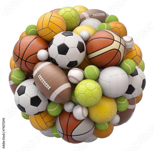 Leinwanddruck Bild Sport balls isolated on white background