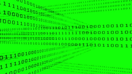 Binary code grid on green background