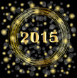 numbers 2015 year on a black background with gold spangles