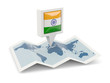 canvas print picture - Square pin with flag of india on the map