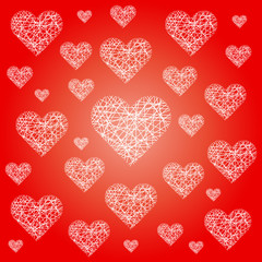red valentine pattern background with white sketchy hearts