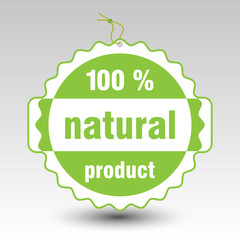 green 100 % natural product paper price tag label